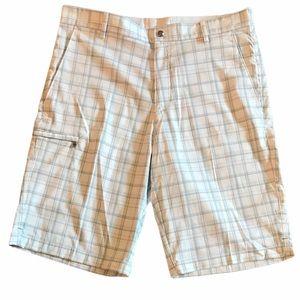 "Calvin Klein Plaid Bermuda Shorts White Grey 33"" W"